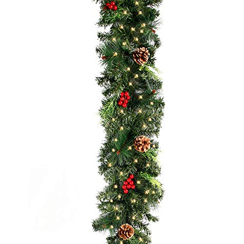 Christmas Garland with Lights for Stairs, 6FT(1.8M) Pre-lit Christmas Garland Decoration with 30 LED Light and Pine Cone Baubles for Xmas Tree Fireplaces Stairs Doors Xmas Tree Garden Yard Decor