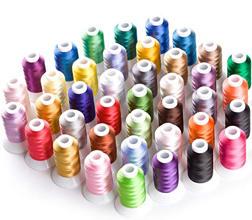 Simthread Brother 40 Color Polyester Embroidery Machine Thread Kit 550Y(500M) for Brother Babylock Janome Singer Husqvarna Bernina Embroidery and Sewing Machines