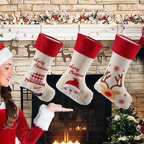 LessMo 3 Pcs Weihnachtsstrumpf, Weihnachtssocken Groß zum Befüllen, Nikolaussocken Nikolausstrumpf Hängende Strümpfe Weihnachten Süßigkeiten Geschenk Beutel zum Befüllen und Aufhängen Weihnachtsdeko