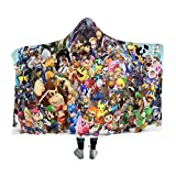 Hooded Blanket for Poke-mon fans,Super Smash Bros Pikachu Kirby Link Mario,Arctic velvet Wearable Super Soft Warm Throw Blanket,For Winter Sofa School Home Travel Picnic Carrying, Kids, 39x51 inch