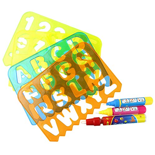 Schilderij sjabloon voor kinderen 3-6 jaar oud, 4 stuks kunststof geometrische figuur alfabet holle bord tekening schilderij stencils sjablonen voor kinderen met 3 pennen(3-6 jaar)