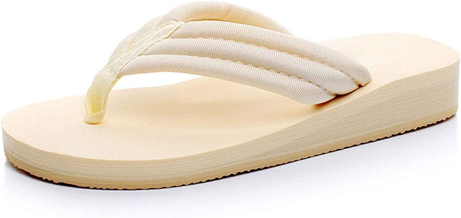 HUYP Beige Fashion Flat Slippers Female Summer Anti-Skid Flip Flops Wild Wear Sandals (Size   35)