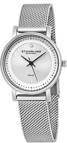 Stuhrling Original Women's Ascot Casatorra Elite Stainless Steel Watch with Diamond (Silver)