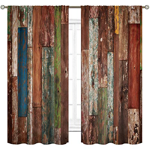 Cinbloo Antique Wooden Thin Fabric Curtains (Not Blackout) Rod Pocket Grunge Rustic Planks Barn Wood and Lodge Hardwood Printed Living Room Bedroom Window Drapes Treatment 2 Panels 41 (W) x 63(L) Inch