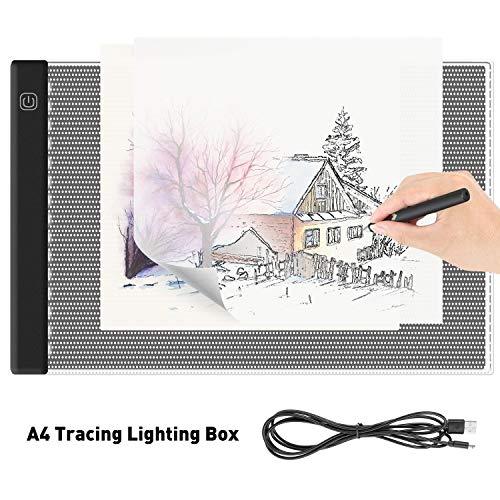 iKALULA LED Leuchttisch, LED Licht Pad A4 LED Leuchttisch Leuchtplatte Dimmbar Tragbare Lichtkasten Light Pad Ultradünner A4 Leuchttablett mit USB Kabel für Kopieren Zeichnen, Skizzieren, Animation