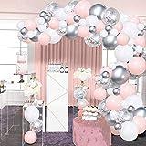 Kit de arco de globo, 100 globos de helio, confeti metálico con tira de cinta de 4,8 m y pegamento de puntos para niña, boda, cumpleaños, fiesta de bebé