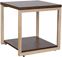Mahmayi Projekt Modern Melamine Coffee Table with Stylish Square Wooden Legs and Shelf - Colombia Walnut (CT-60)