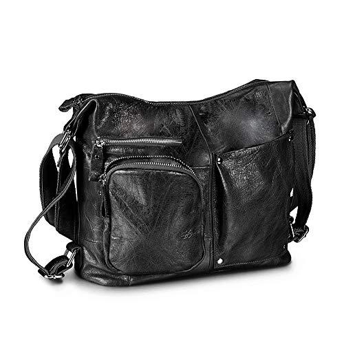 Lecxci Womens Large Multi-purpose Leather Sling Shoulder Purse Crossbody Travel Bag Hiking Day Backpacks (Black)