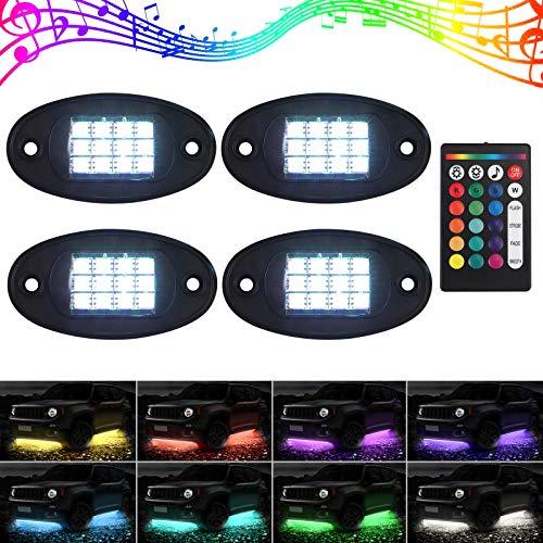 Justech 4PCS RGB LED Rock Lights 12V 20W Luz LED de Neón Multicolor IP68 Impermeable Modo de Música con Control Remoto Perfecta Para Off Road Camioneta ATV SUV Motocicleta