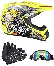 Senhill DOT Motocross Helmet Unisex Offroad Helmet Dirt Bike ATV Motorcycle Helmet Gloves Goggles (Yellow, M)