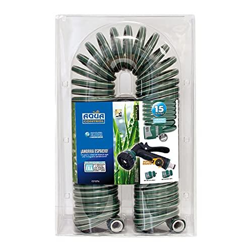 Aqua Control C2107N2 Manguera de Jardín con Conexiones Bimateria y Pistola con 7 Formas-15 m, Verde