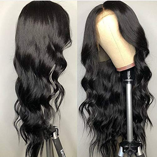 BEEOS 13x6 Lace Front Wig 150% Density Body Wave Pre Plucked Hairline Human Hair Transparent Undetectable Lace Wigs for Black Women (24 Inch)
