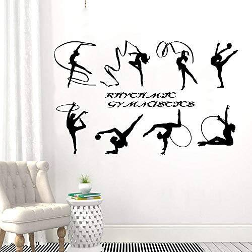 Rhythmic Gymnastics Wall Stickers Home Decoration Exercise Room School Logo Sport Girl Vinyl Self-adhesive Wall Decals-57x35cm