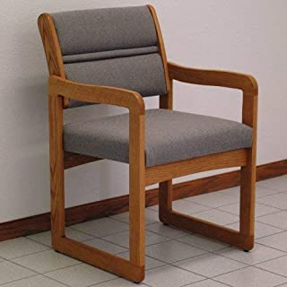 Wooden Mallet Sled-Base Valley Guest Chair, Medium Oak, Charcoal Grey