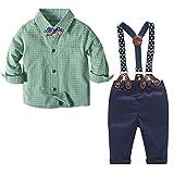 Abbigliamento Neonato Abito Bimbo Cerimonia Vestiti Bambino Maschio Completo Camicia e Pantaloni e Bretelle 9-12 Mesi