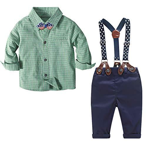 Nwada Set di Vestiti per Neonato Set Formale da Gentiluomo Carino Camicia a Quadri + Pantaloni Lunghi + Bretelle + Farfallino 4 Pezzi Set di Abiti pasquali per Bambini 9-12 Mesi
