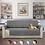 Turquoize Reversible Sofa Protector Pet Furniture Protector for 3 Couch Cover Sofa Cover with 2' Elastic Straps Non Slip Sofa Slipcover for Living Room, Seat Width Up to 66'(Sofa, Gray/Beige)