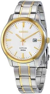 Seiko Quartz Sapphire Silver Tone Dial Two Tone Mens Watch SGEH42