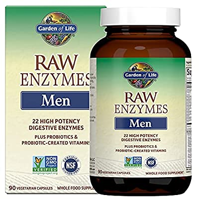 Garden of Life Vegetarian Digestive Supplement for Men - Raw Enzymes for Digestion, Bloating, Gas, and IBS, 90 Capsules *Packaging May Vary*