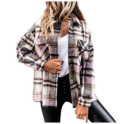 YTZL Jackor dam skjortjacka rutiga väskor knappar övergångsjacka långärmad kavaj damer elegant lång oversize blus rock skjorta jeansjacka jackor flickor fritid rutig blus höst vinter jacka, BRUN, L