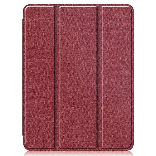 XIAOPENGCASE Mit Bleistifthalter Tuchbeschaffenheit Leder Klavier Silikon Auto-Sleep/Wake-Abdeckung for iPad Pro 12,9 Zoll 2020 (Color : Wine Red)