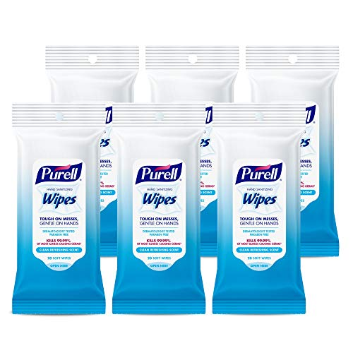 Purell - 9124-06-EC PURELL Hand Sanitizing Wipes, Clean Refreshing Scent, 20 Count Travel Pack (Pack of 6) - 9124-09-EC