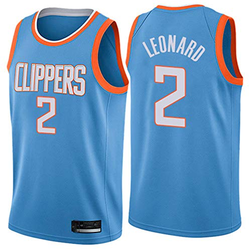 XIAOHAI Hombres Camisetas NBA, Los Angeles Clippers # 2 Kawhi Leonard Transpirable Resistente al Desgaste Malla Bordado Baloncesto del Swingman de los Jerseys,L