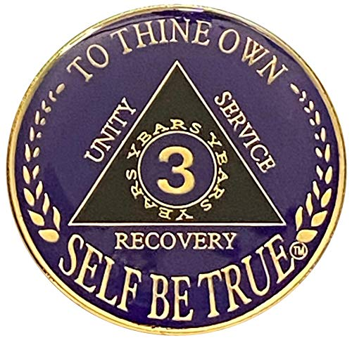 3 Year AA Gold Color Plated-Medallion, Recovery Token, AA Token, Triple Clear Epoxy Sealed