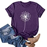 Hotkey Womens Short Sleeve Tops, Womens Loose T-Shirts Casual Dandelion Printing O-Neck Blouse Tops Funny Shirts Purple