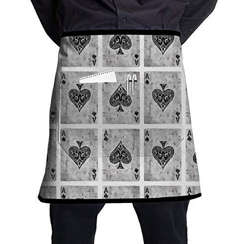 MSGDF Vintage Ace of Spades Card Poker Lover Polyester Waist Apron with Pockets Adjustable Long Strap Waterproof Apron for Server Kitchen Garden Shop Or BBQ