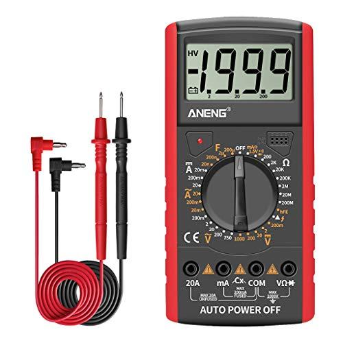 Esing AN9205A + Multímetro Digital AC/DC Voltmeter Ammeter Resistencia Probador De Resistencia Capacitor Diodo Multimetro a Prueba De Golpes Y a Prueba De Quemaduras
