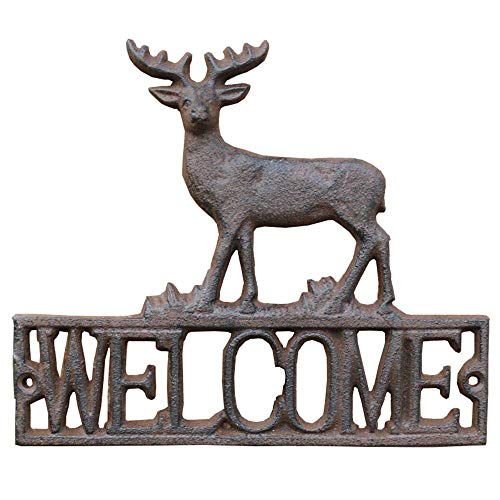 yunyu Vintage Cast Iron Elk Shape Wall Mount Welcome Sign | Wall Decor Welcome Tag | House Plaque Garden Bar Cafe Store Gate Door Sign Wall Mount Decoration,garden signs and plaques