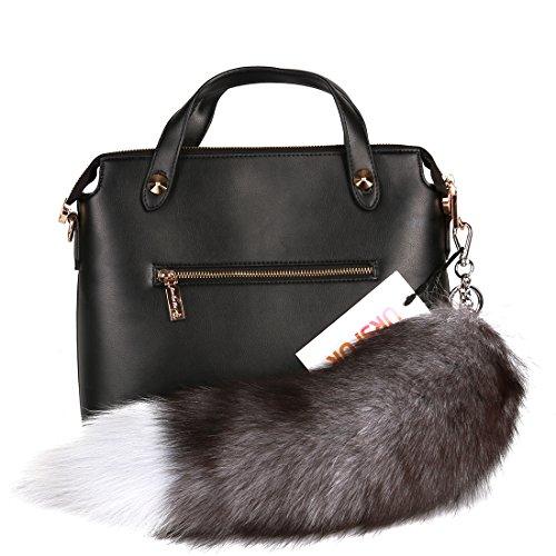 URSFUR Fluffy Silver Blue Fox Tail Fur Handbag Accessories Key Chain Ring Hook