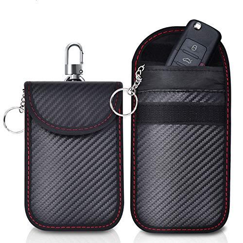 Caslord Keyless Go Schutz Autoschlüssel, Faraday Schlüsseltasche Signal Blocker Tasche, Anti-Hacking RFID-2 Stück