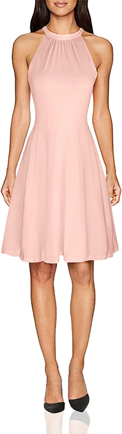 OUGES Women's Stand Collar Off Shoulder Sleeveless Cotton Casual Dress
