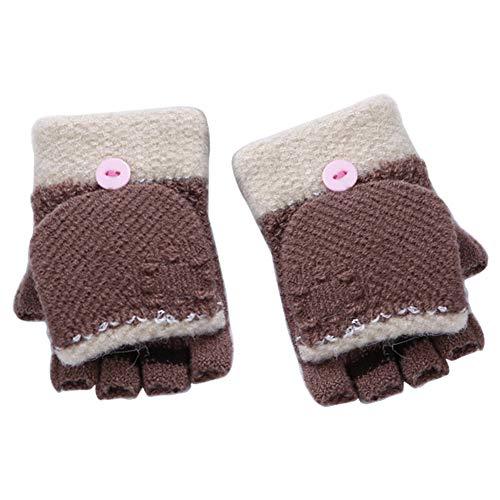 DaoRier Kinder Gestrickte Handschuhe Winter Warme Halber Fäustlinge