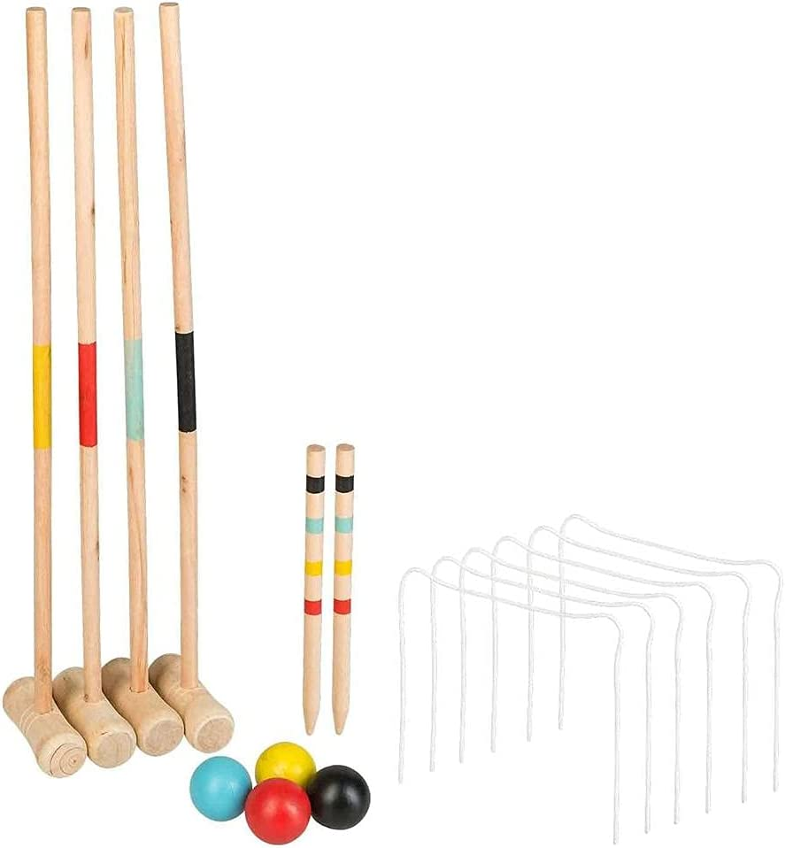Mrisata Four-Person Limited price sale Croquet Set with Wooden Tote Recommendation Bag Go