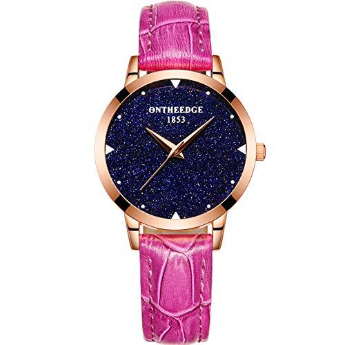 Damen Quarz-Armbanduhr, Leder, wasserdicht, lässige Uhr, Nicht mechanische Uhr, Geschenk, 6 Farben, violett, Größe