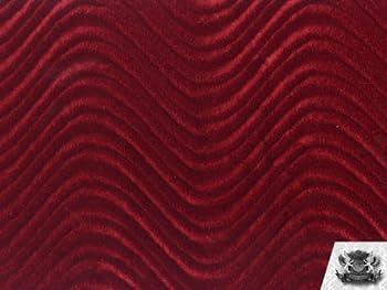 Velvet Flocking Swirl Burgundy Upholstery Fabric by The Yard