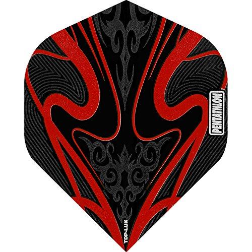 PENTATHLON TDP Lux Dart Flights–Schwarz Serie–STD Rot–5sets (15)–inklusive Darts Ecke gebogen Kugelschreiber