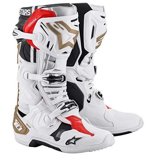 Alpinestars 2010019-259-09 Unisex-Adult Tech 10 Squad 20 Le 2020 Boots White/Silver/Gold Sz 09 (Multi, one_size)
