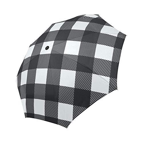 Automatic Foldable Umbrella Black White Buffalo Check Lumberjack Plaid Windproof Automatic Open And Close Foldable Umbrella Travel Compact Unbreakable Rain And Sun Umbrella