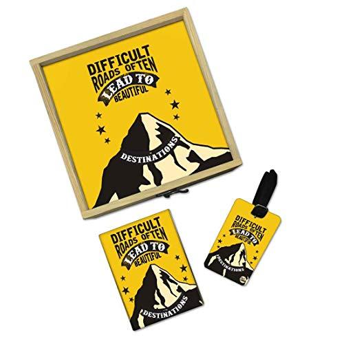 Nutcase Designer Passport Cover Holder for Men Women Passport Gift Box Set Luggage Tag Wooden - Destinations