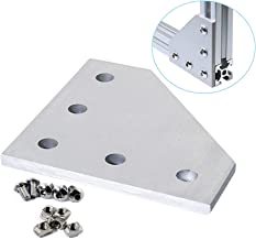 KOOTANS 10pcs/Set L Shape 90 Degree Joint Board Plate with 50pcs M5 Screws and Nuts, Corner Angle Bracket Connection for 2020 Series Aluminum Profile