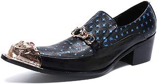 YOWAX Zapatos de Cuero de los Hombres del Metal del Dedo del pie Zapatos de Cuero Casquillo de la Manera Modelo Azul Casua...