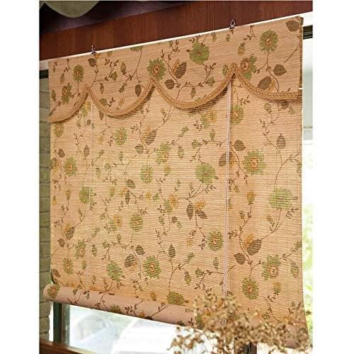 YUANP Persiana Enrollable Bambú Sombreado E Impresión De Esmalte Cortinas De Imagen Filtro De Protección UV Jardín Patio Galería Galería Balcón Cortina De Bambú,OneColor-60x130