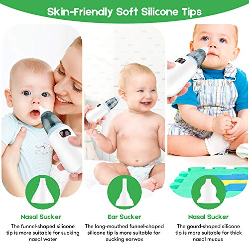 Electric Nasal & Ear cleaner for Toddlers-Electric Nasal Aspirator for Babies - USB Rechargeable - 5 Kinds of Suction Levels of Mucus Remover for Children - 3 Different Sizes of Silicone Tips - Suitable for the Aged 0 to 12 Children