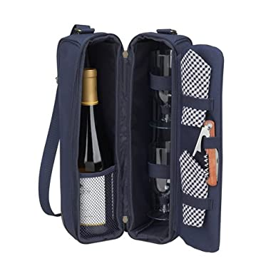 Picnic at Ascot - Deluxe Insulated Wine Tote with 2 Wine Glasses, Napkins and Corkscrew - Navy