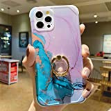 Anynve Compatible with iPhone 12 Pro Max Marble Case with Ring, Reinforced Raised Corners [Shockproof Hard Back + Soft TPU Bumper] with 360 Degree Rotating Ring Kickstand Case 6.7'-Purple Green