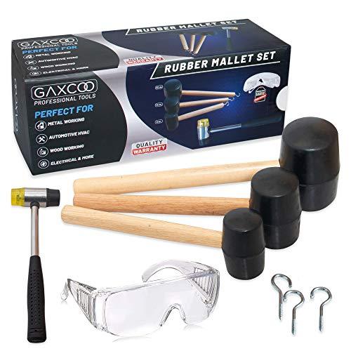 Wood Handle Rubber Mallet Hammer 5 Piece Set 8Oz, 16Oz & 32Oz Mallets Large, Small Lightweight & Durable, Camping, Automotive, Assembling Furniture Bonus: Safety Glasses